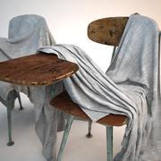 Школьный стул покрытый простыней 3d model