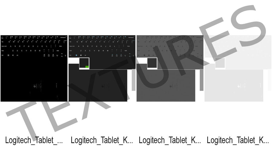 Logitech Tablet Keyboard royalty-free 3d model - Preview no. 15