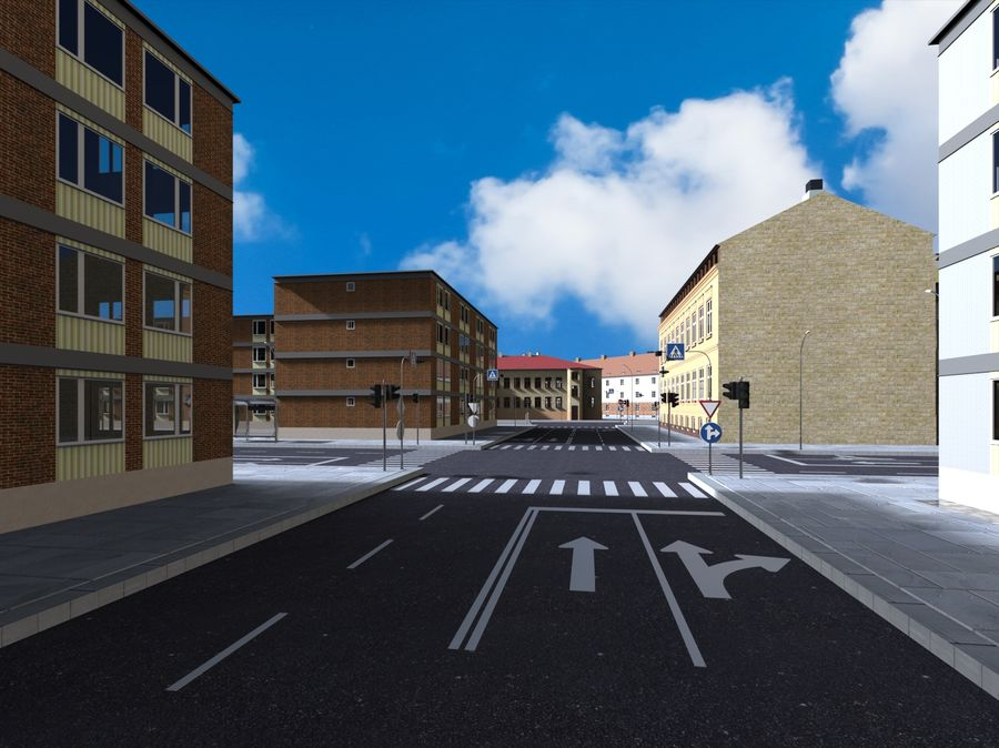 Ciudad - Las calles de Europa royalty-free modelo 3d - Preview no. 6