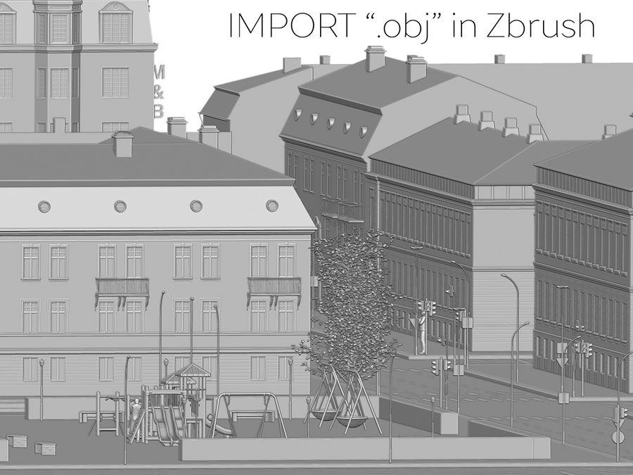 Ciudad - Las calles de Europa royalty-free modelo 3d - Preview no. 37