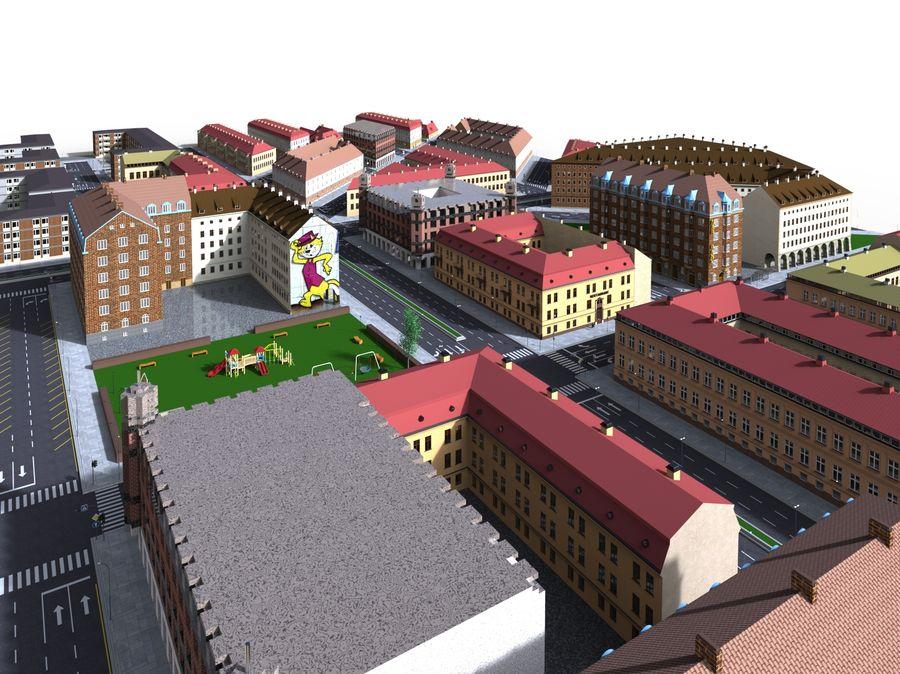 Ciudad - Las calles de Europa royalty-free modelo 3d - Preview no. 19
