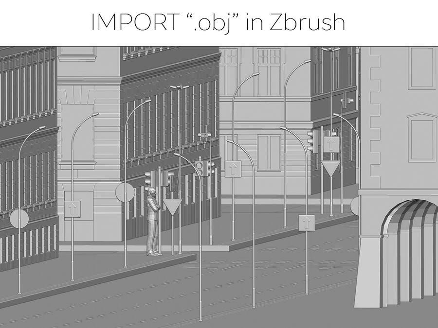 Ciudad - Las calles de Europa royalty-free modelo 3d - Preview no. 36