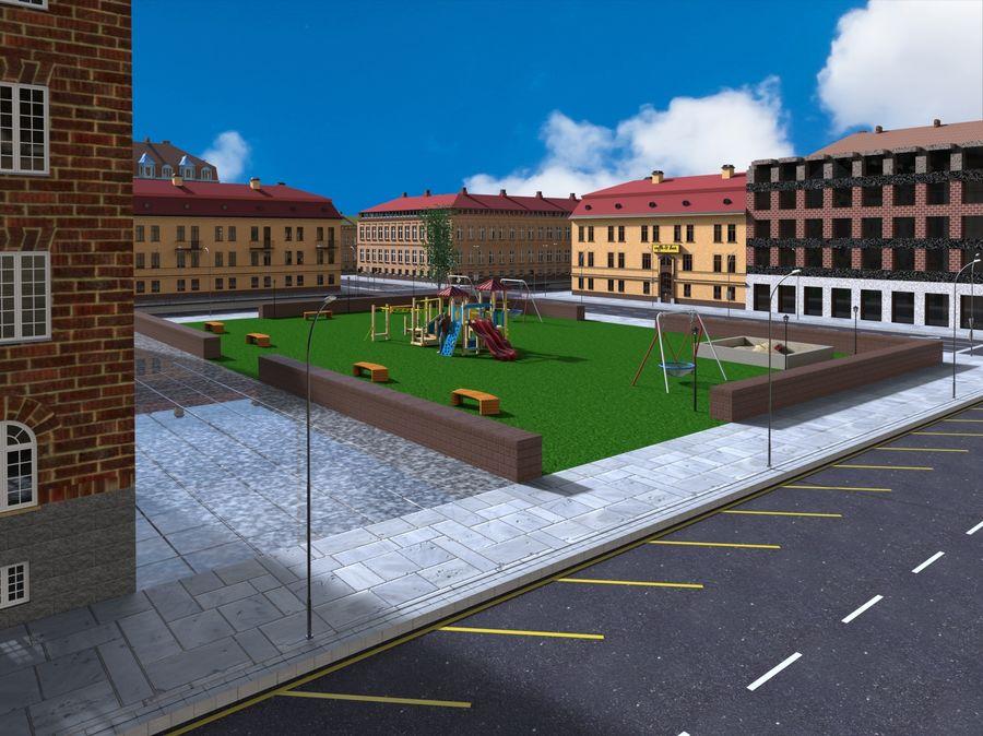 Ciudad - Las calles de Europa royalty-free modelo 3d - Preview no. 12