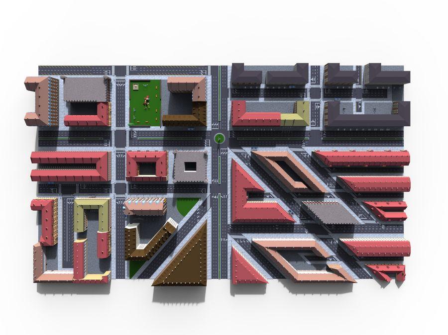 Ciudad - Las calles de Europa royalty-free modelo 3d - Preview no. 17