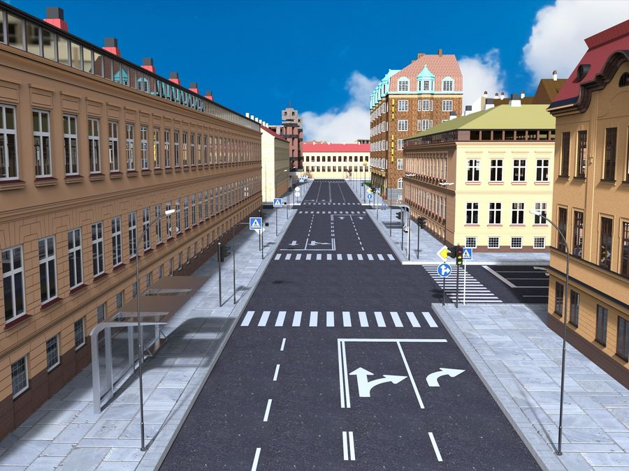 Ciudad - Las calles de Europa royalty-free modelo 3d - Preview no. 1