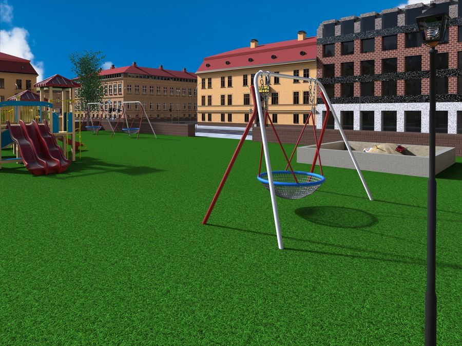 Ciudad - Las calles de Europa royalty-free modelo 3d - Preview no. 15