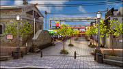Пешеходная улица мультфильм 3d model