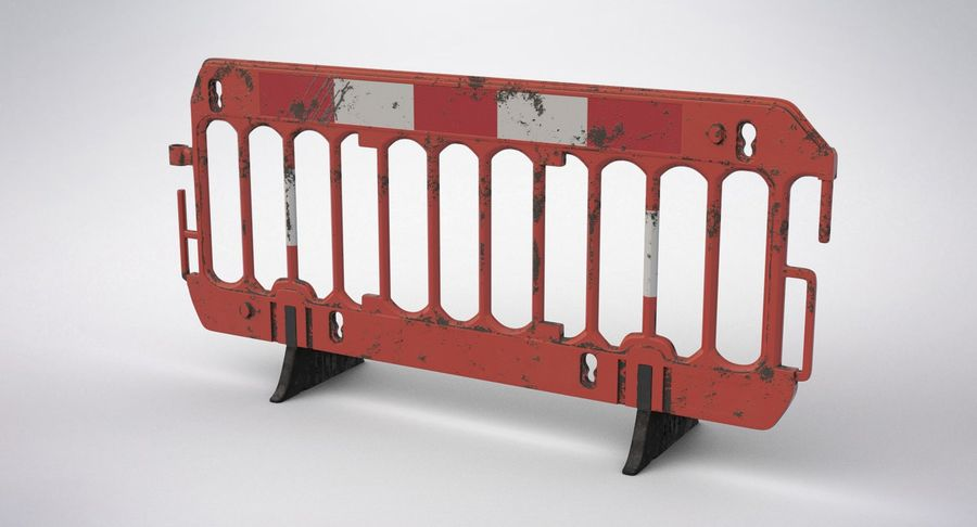 Roadworks Barrier royalty-free 3d model - Preview no. 12