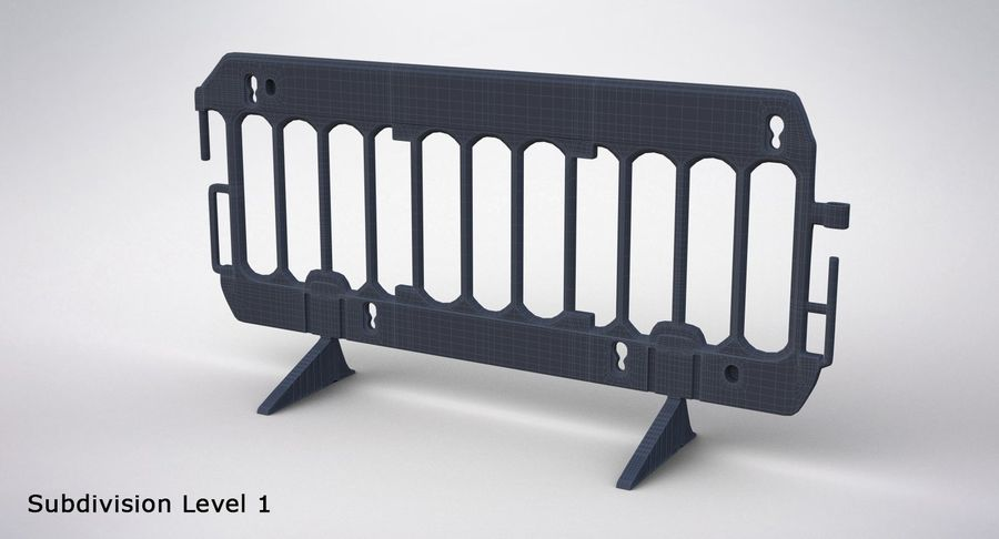 Roadworks Barrier royalty-free 3d model - Preview no. 18
