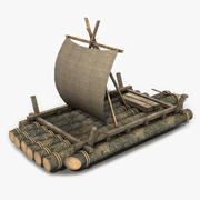 Old Wooden Raft 4 3d model