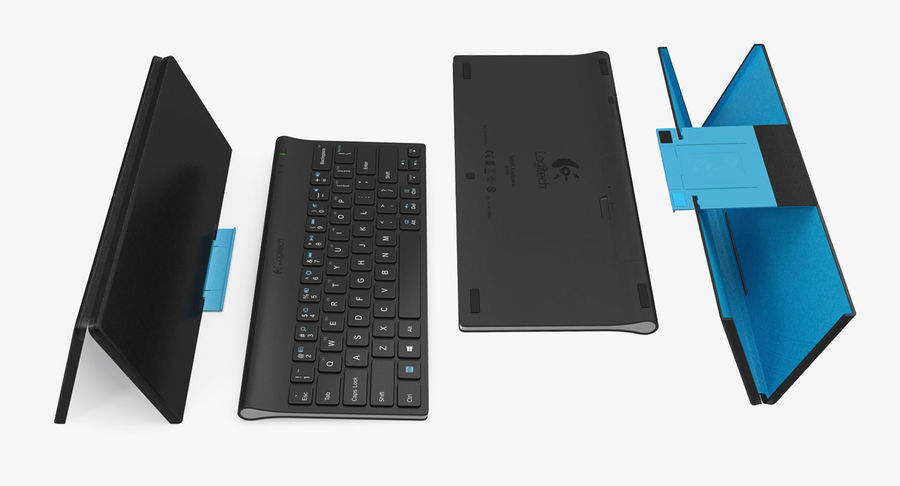 Logitech Tablet Keyboard with Cover 3D Model royalty-free 3d model - Preview no. 7