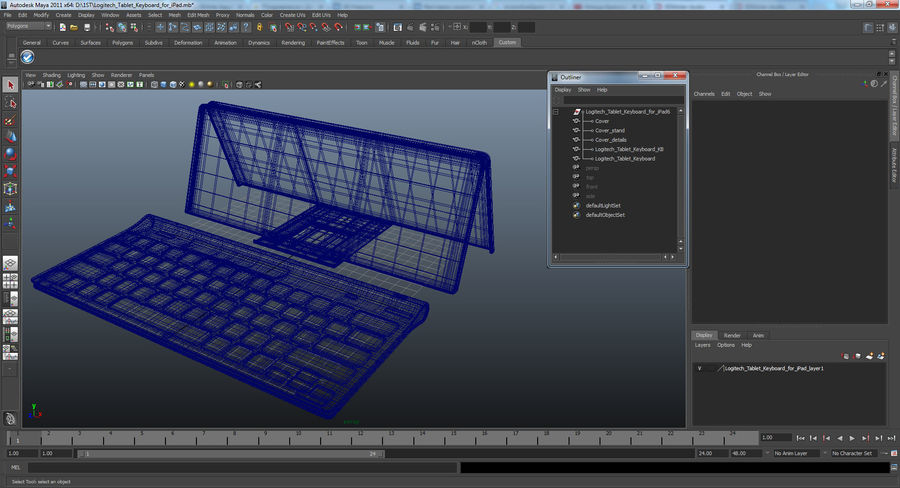 Logitech Tablet Keyboard with Cover 3D Model royalty-free 3d model - Preview no. 21