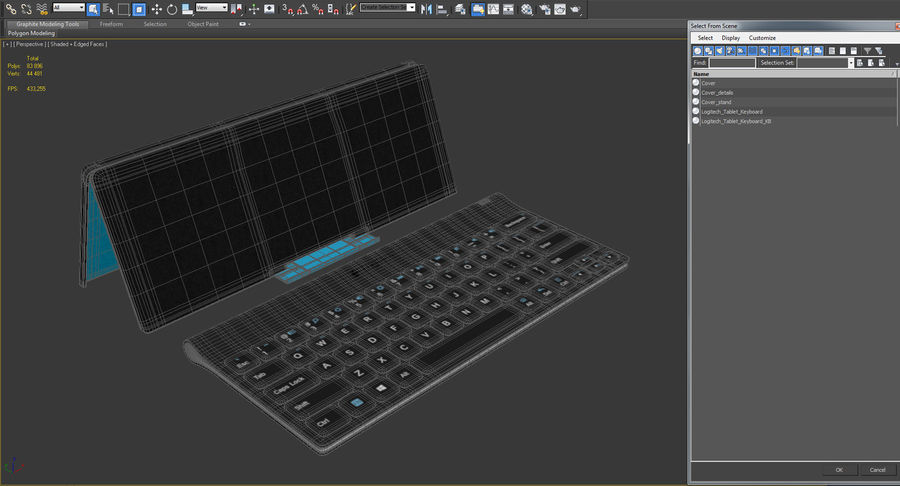 Logitech Tablet Keyboard with Cover 3D Model royalty-free 3d model - Preview no. 18