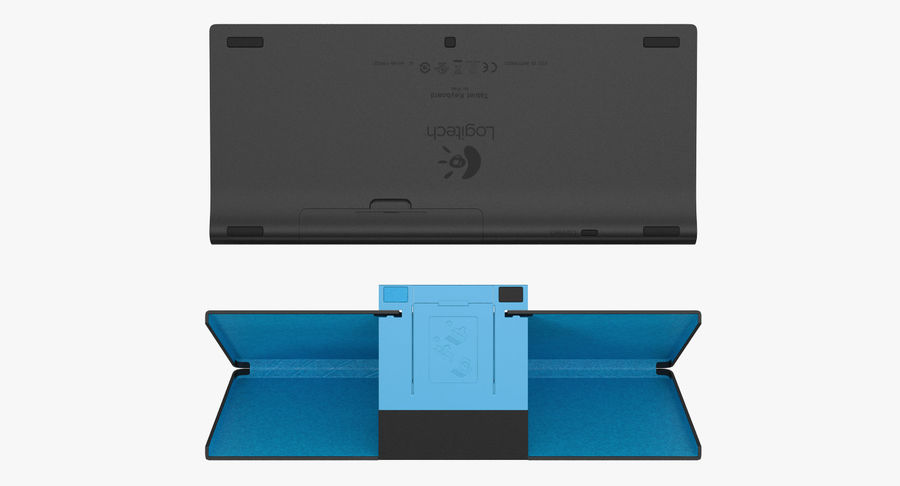 Logitech Tablet Keyboard with Cover 3D Model royalty-free 3d model - Preview no. 6