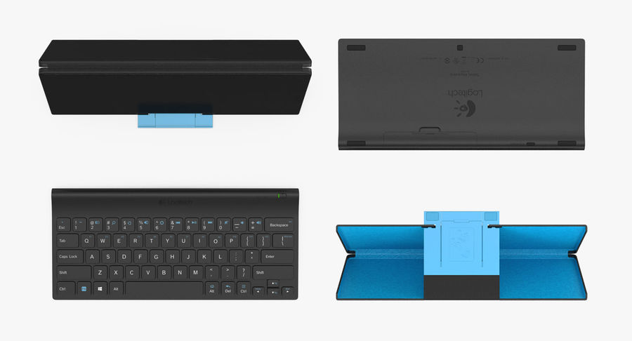 Logitech Tablet Keyboard with Cover Rigged 3D Model royalty-free 3d model - Preview no. 7