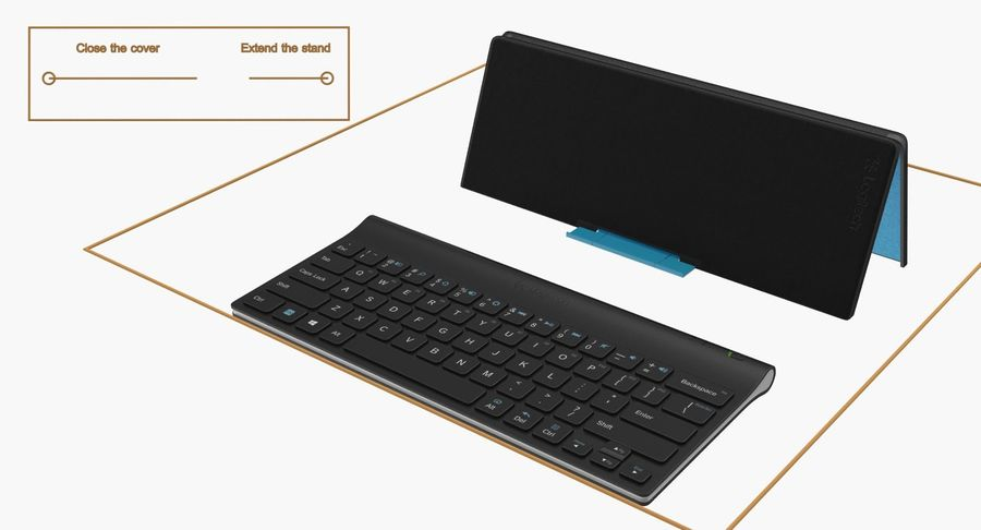 Logitech Tablet Keyboard with Cover Rigged 3D Model royalty-free 3d model - Preview no. 15
