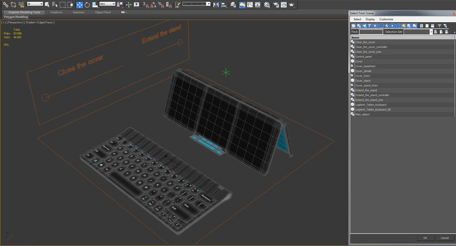 Logitech Tablet Keyboard with Cover Rigged 3D Model royalty-free 3d model - Preview no. 21