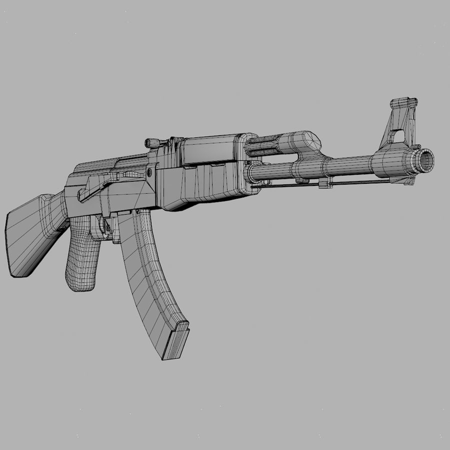 Aanval AK 47 royalty-free 3d model - Preview no. 8