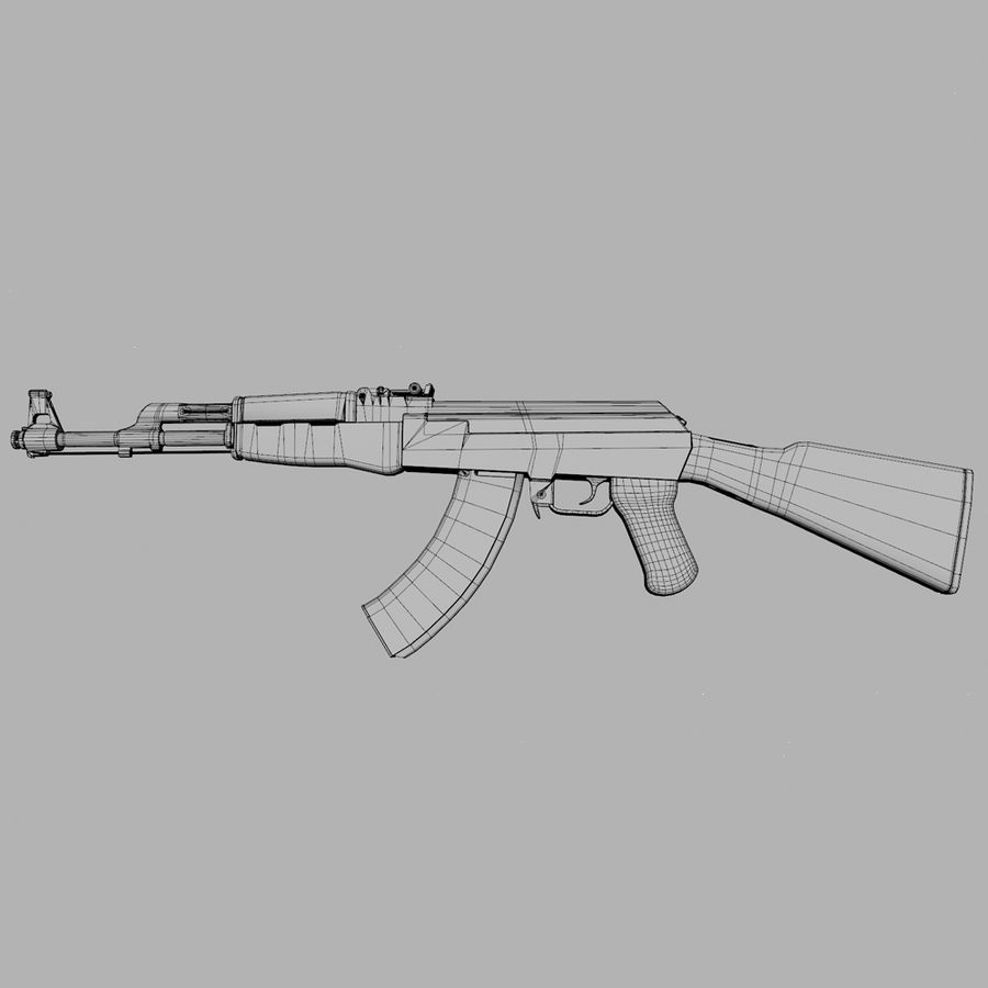 Aanval AK 47 royalty-free 3d model - Preview no. 9