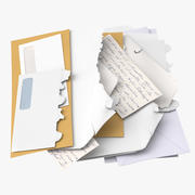 Open and Unopened Mail Pile 02 3d model