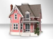 Casa vittoriana rosa 3d model