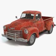 旧生锈的皮卡车 3d model