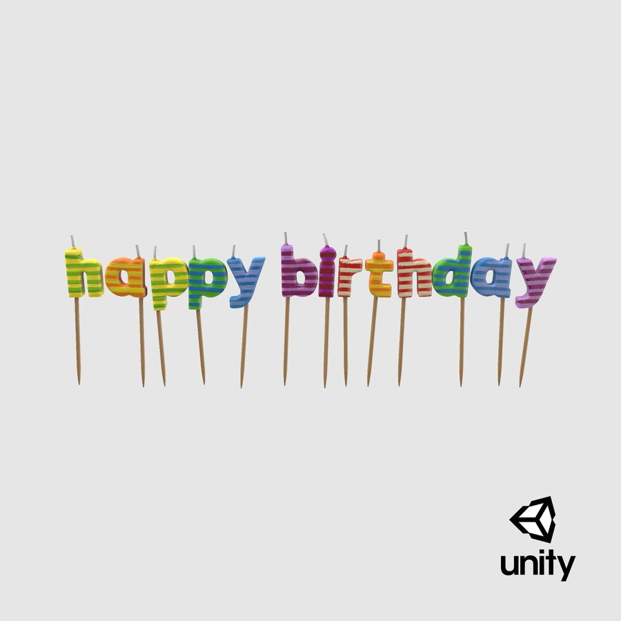 Happy Birthday Candles royalty-free 3d model - Preview no. 19