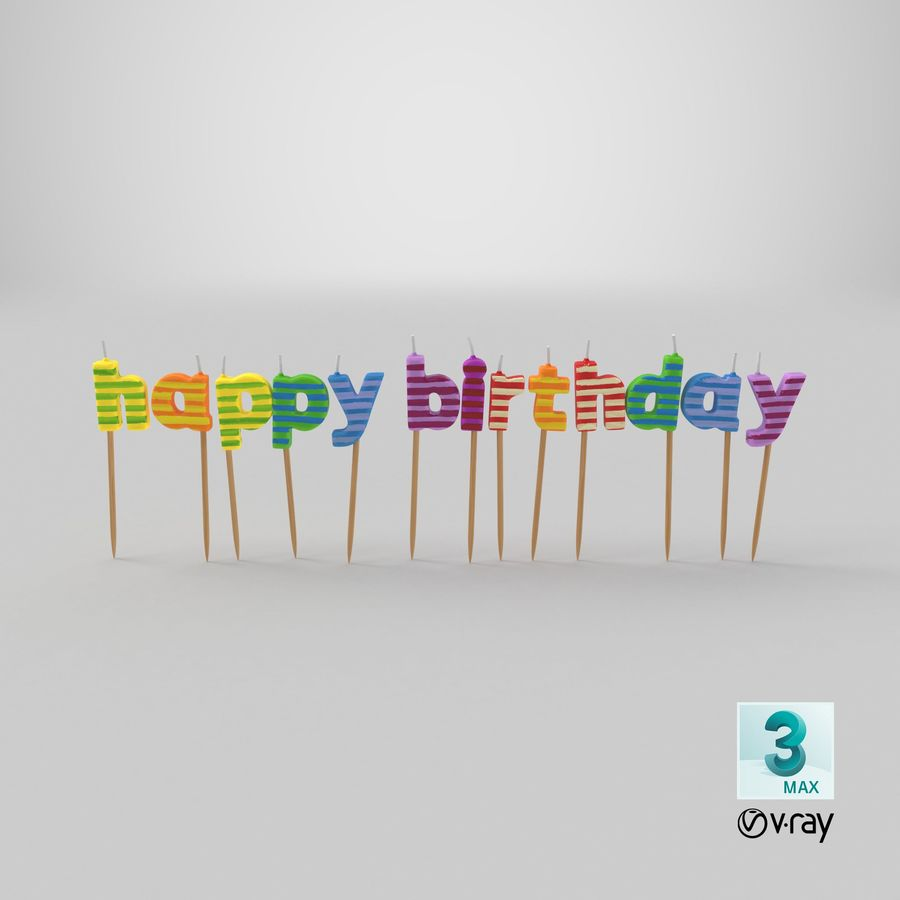 Happy Birthday Candles royalty-free 3d model - Preview no. 18