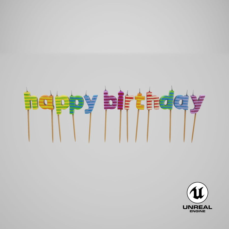 Happy Birthday Candles royalty-free 3d model - Preview no. 20