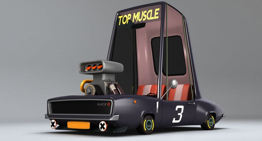 Cartoon Muscle Car royalty-free 3d model - Preview no. 3