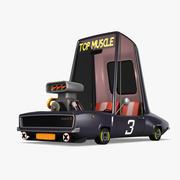 Cartoon Muscle Car 3d model