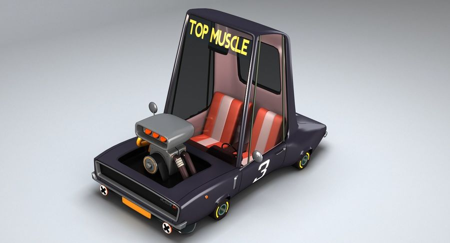 Cartoon Muscle Car royalty-free 3d model - Preview no. 8