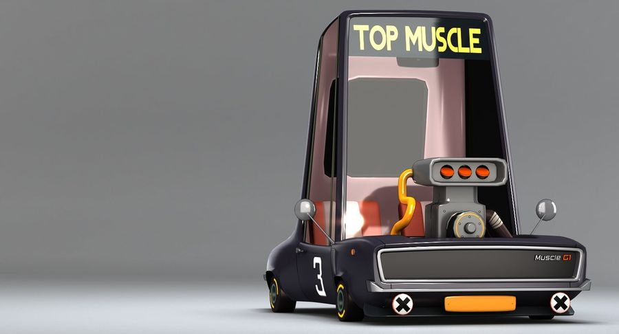 Cartoon Muscle Car royalty-free 3d model - Preview no. 5
