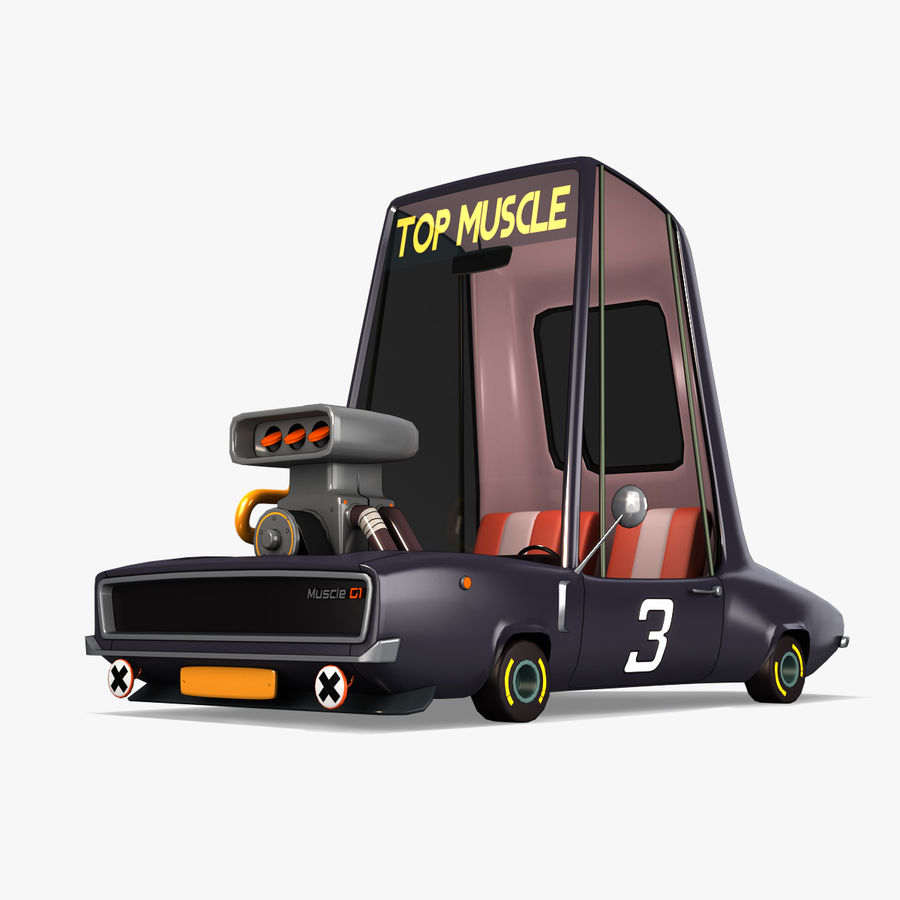 Cartoon Muscle Car royalty-free 3d model - Preview no. 1