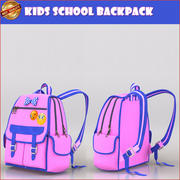 School Backpack 3d model