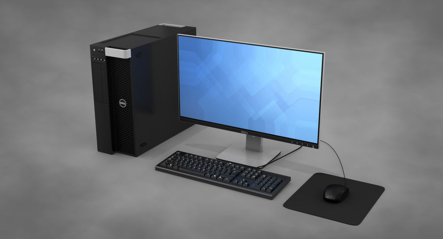 Dell werkstation royalty-free 3d model - Preview no. 3