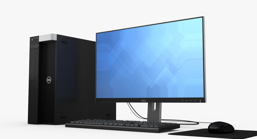 Dell werkstation royalty-free 3d model - Preview no. 4
