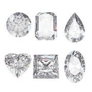 Seis cortes de diamante modelo 3d