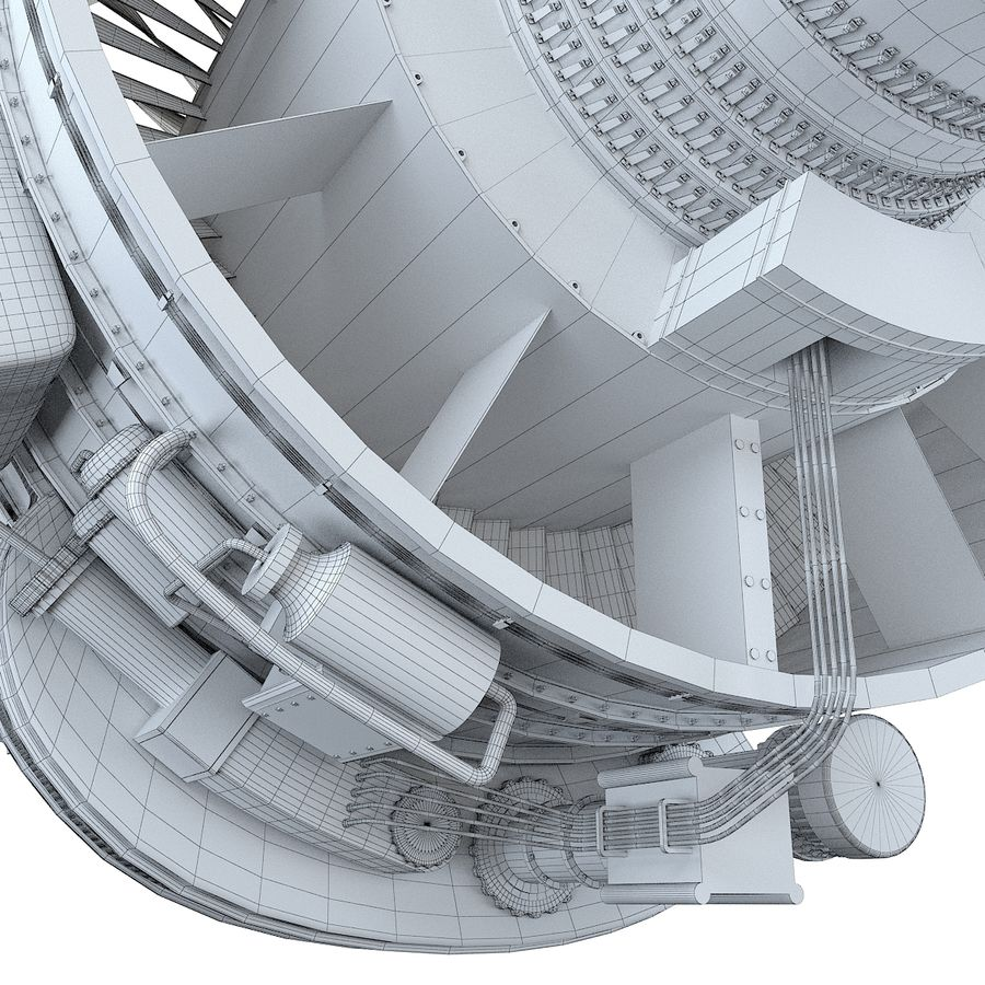 Aircraft Turbofan Engine royalty-free 3d model - Preview no. 18