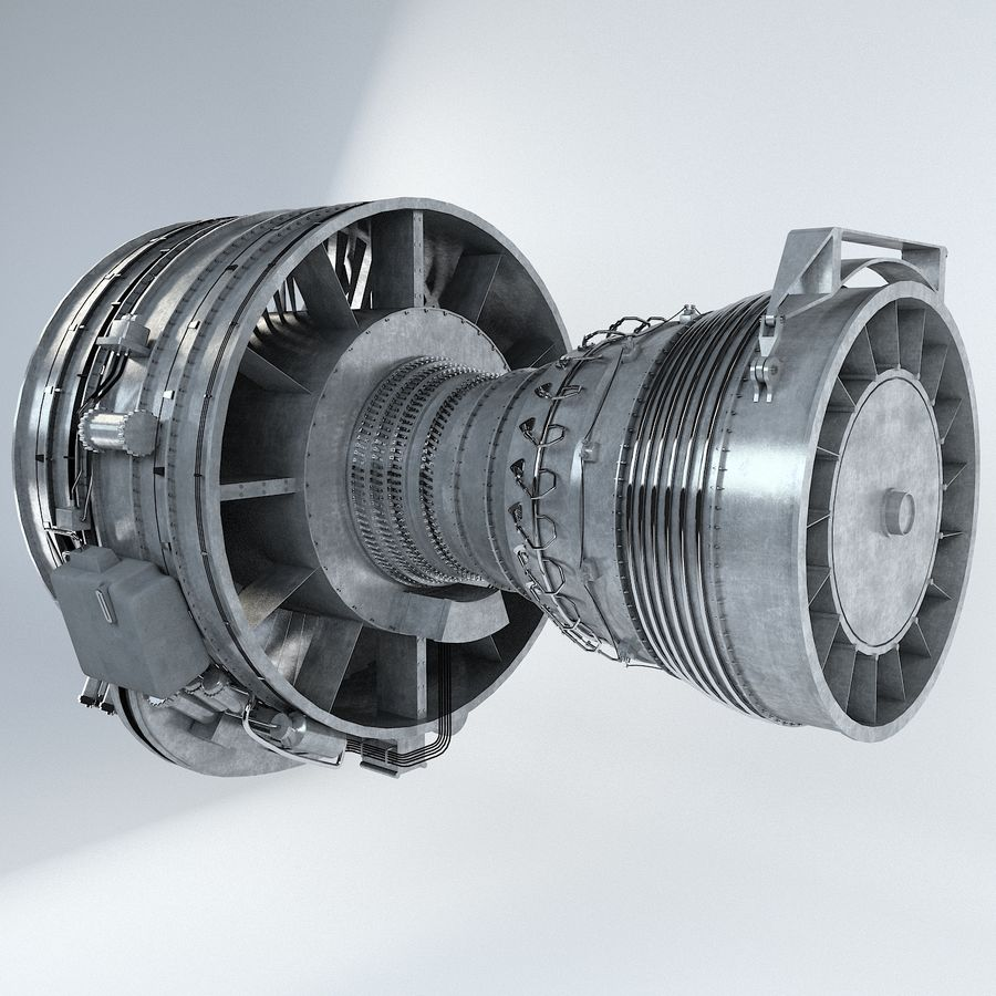 Aircraft Turbofan Engine royalty-free 3d model - Preview no. 3