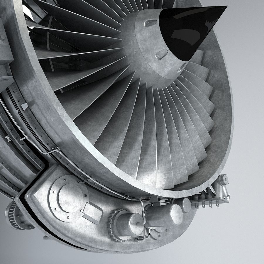 Aircraft Turbofan Engine royalty-free 3d model - Preview no. 10