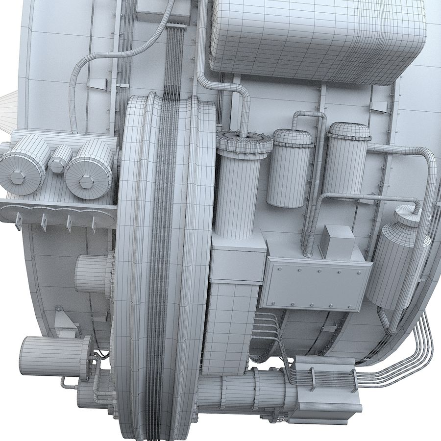 Aircraft Turbofan Engine royalty-free 3d model - Preview no. 16