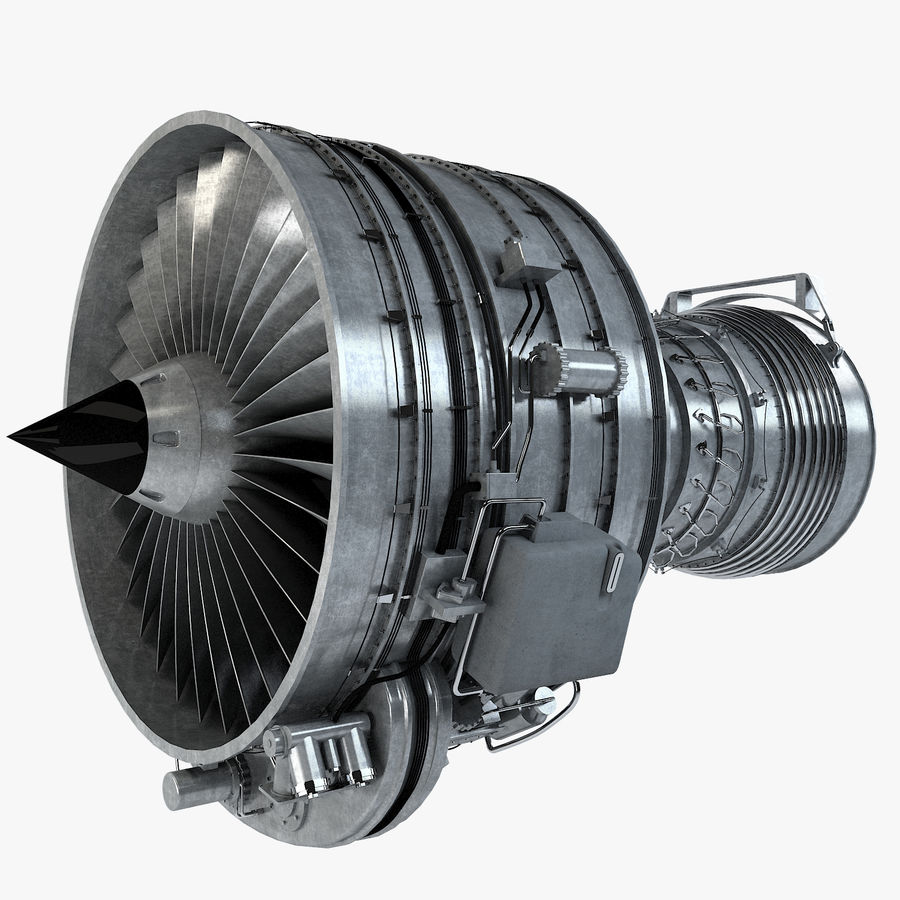 Aircraft Turbofan Engine royalty-free 3d model - Preview no. 1