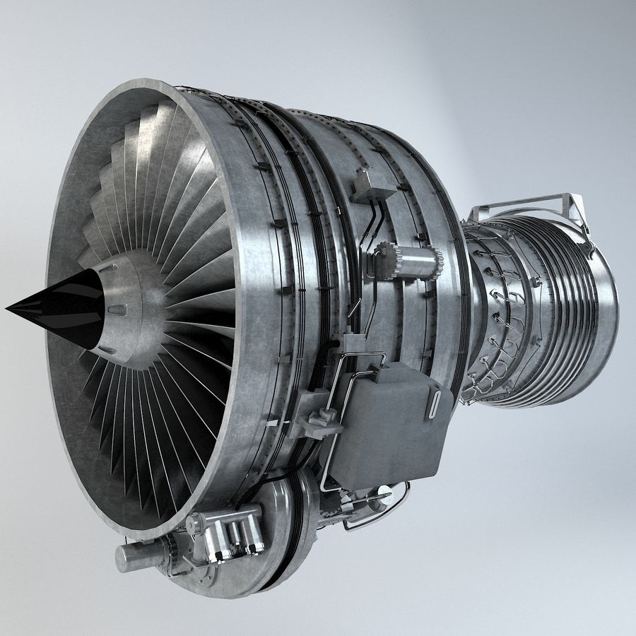 Aircraft Turbofan Engine royalty-free 3d model - Preview no. 2