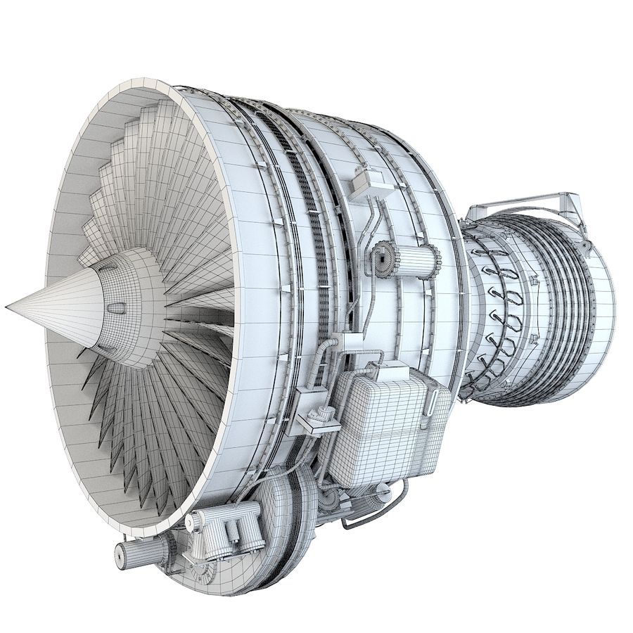 Aircraft Turbofan Engine royalty-free 3d model - Preview no. 15