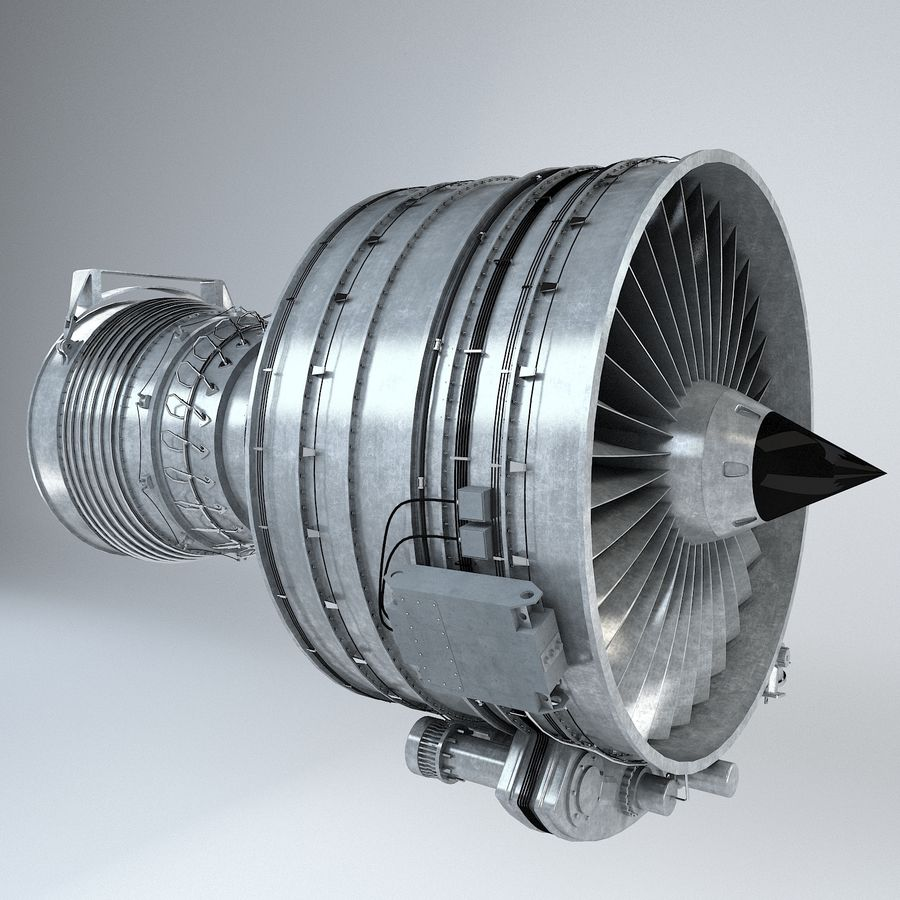 Aircraft Turbofan Engine royalty-free 3d model - Preview no. 13