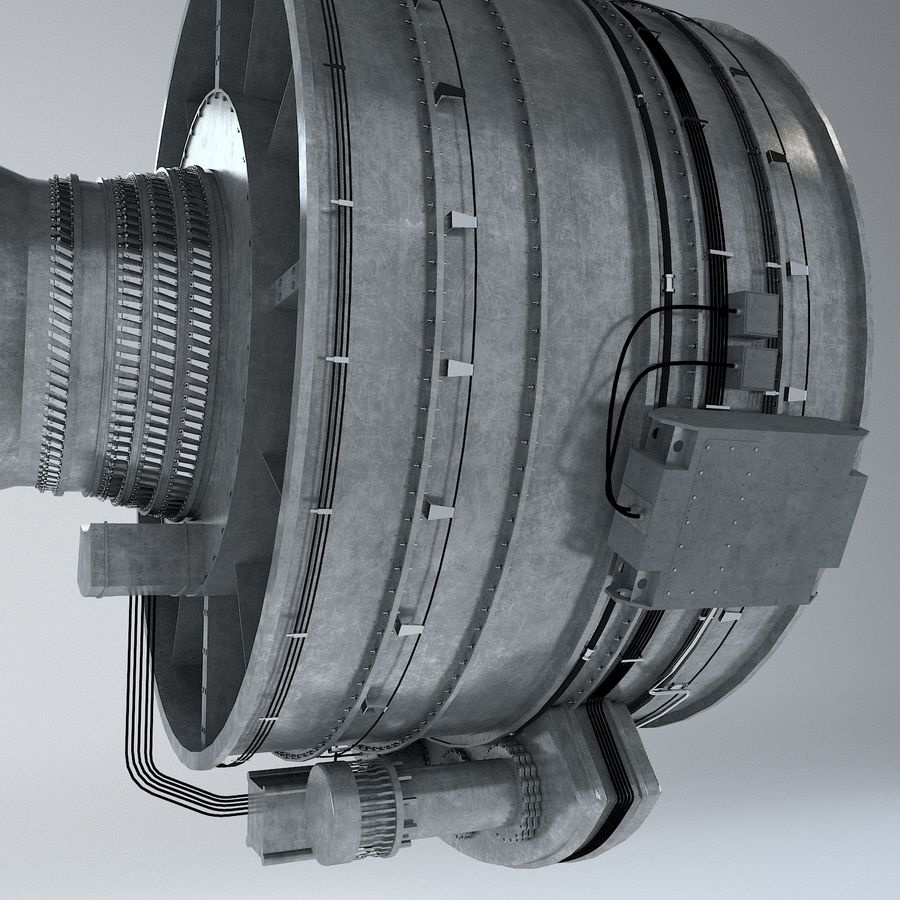 Aircraft Turbofan Engine royalty-free 3d model - Preview no. 11