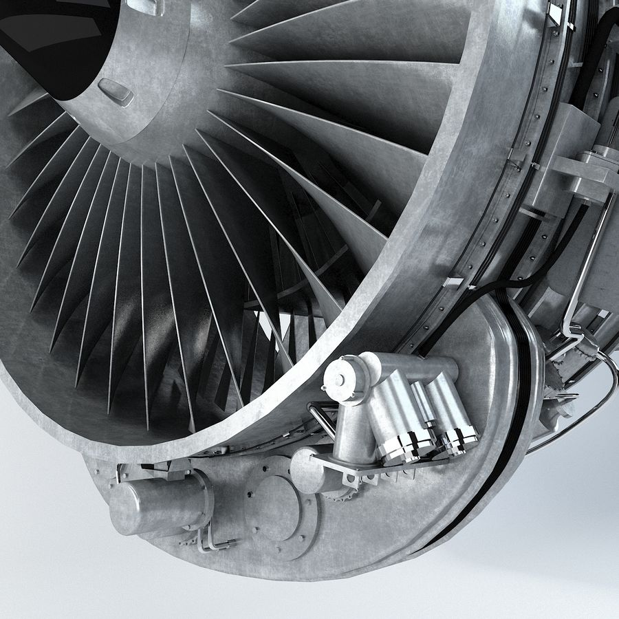 Aircraft Turbofan Engine royalty-free 3d model - Preview no. 6