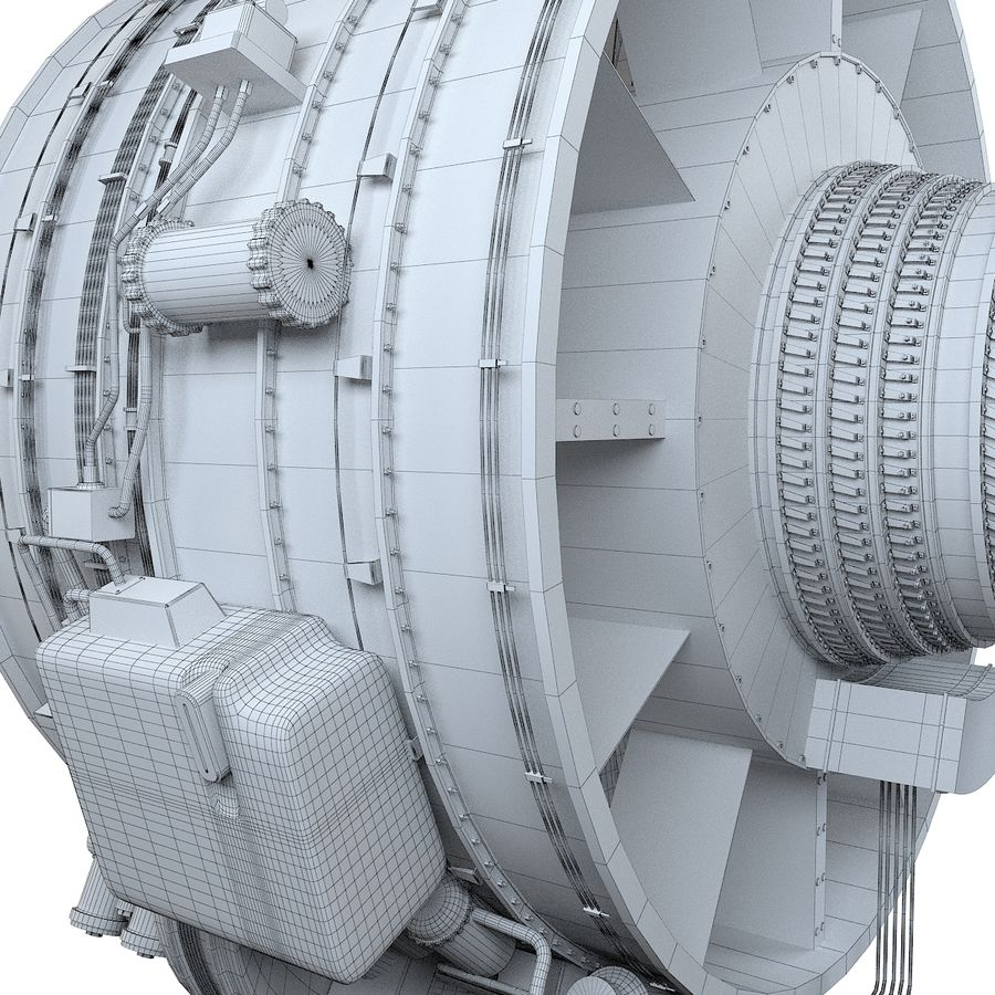 Aircraft Turbofan Engine royalty-free 3d model - Preview no. 19