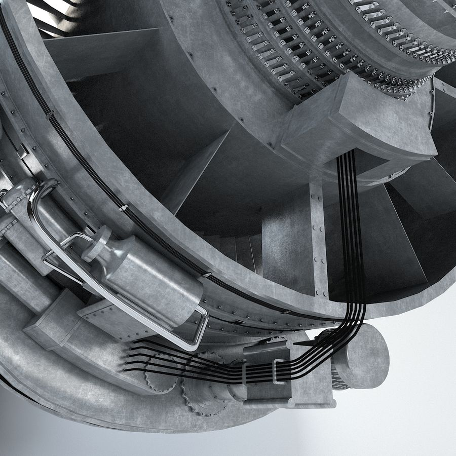 Aircraft Turbofan Engine royalty-free 3d model - Preview no. 9